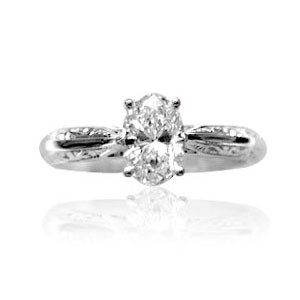AFS-0007 Engraved Solitaire Engagement Ring
