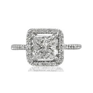 AFS-0065 Vintage Diamond Engagement Ring with Halo