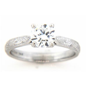 AFS-0151 Engraved Solitaire Engagement Ring