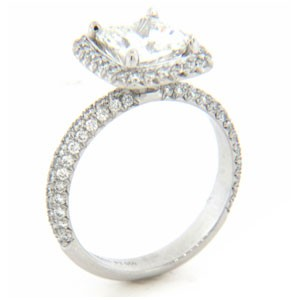 AFS-0162 Vintage Diamond Engagement Ring with Halo