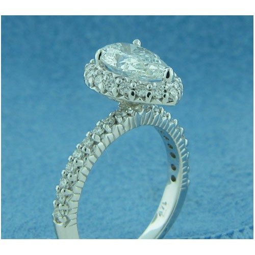 AFS-0196 Vintage Diamond Engagement Ring with Halo