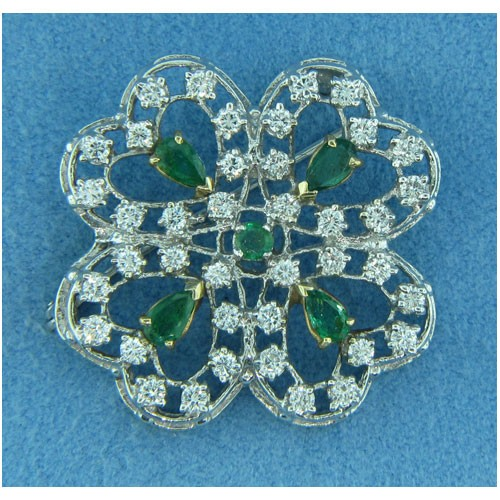 B1264 Diamond and Emerald Pin