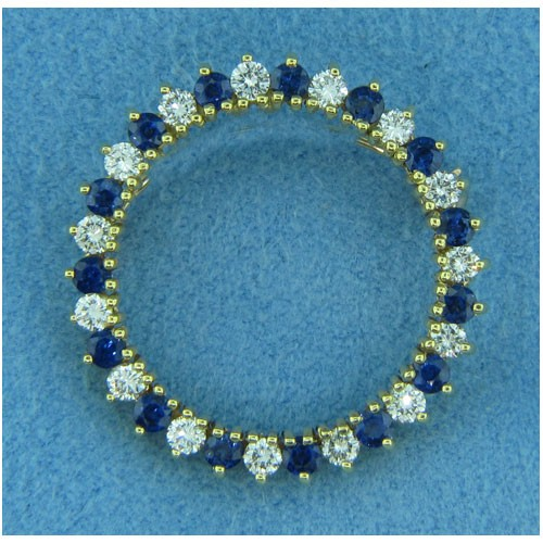 B1646 Diamond and Sapphire Pin