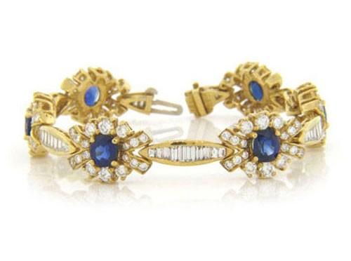 BR674 Diamond and Sapphire Bracelet