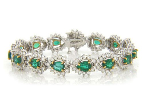 BR875 Diamond and Emerald Bracelet