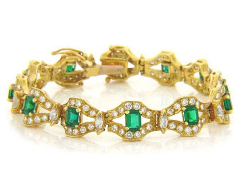 BR883 Diamond and Emerald Bracelet