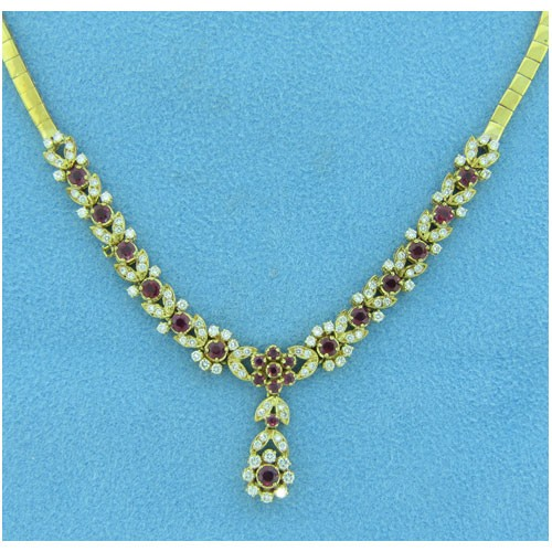 CH487 Diamond and Ruby Necklace