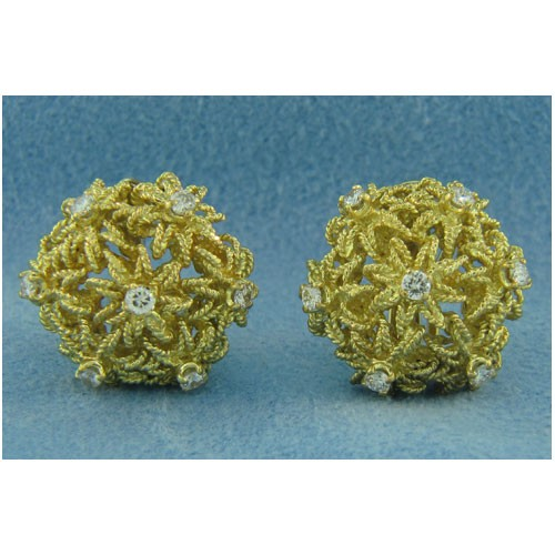 E0663 Diamond Button Earrings