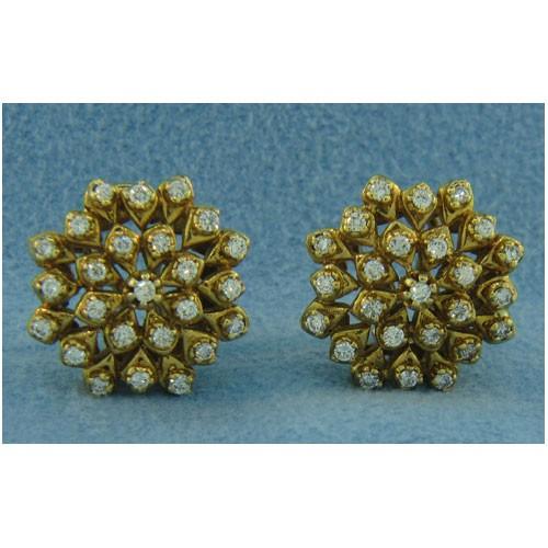 E1086 Diamond Button Earrings