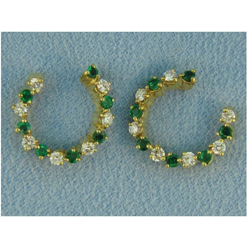 E1138 Diamond and Emerald Earrings