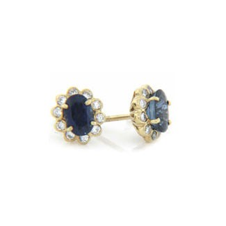 E1203 Diamond and Sapphire Button Earrings