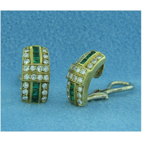 E1214 Diamond and Emerald Earrings