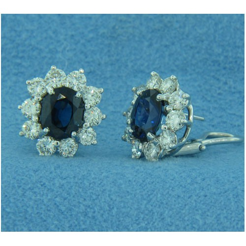 E1253 Diamond and Sapphire Earrings