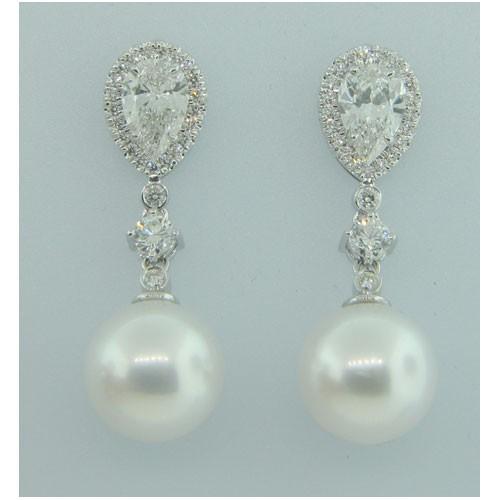 E1266 Diamond and Pearl Earrings