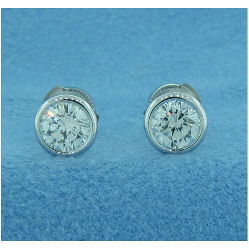 E1267 Bezel-set Diamond Stud Earring Settings
