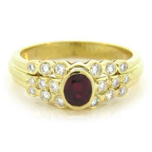 FS3503 Diamond and Ruby Ring
