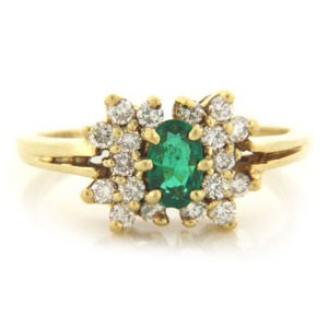 FS3519 Diamond and Emerald Ring