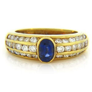 FS3535 Diamond and Sapphire Ring
