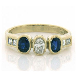 FS3543 Diamond and Sapphire Ring