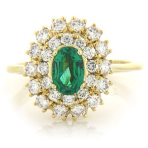 FS3580 Diamond and Emerald Ring