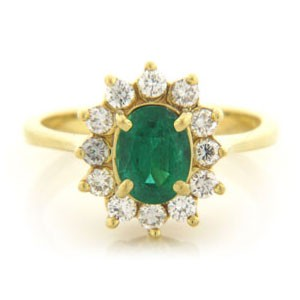 FS3585 Diamond and Emerald Ring