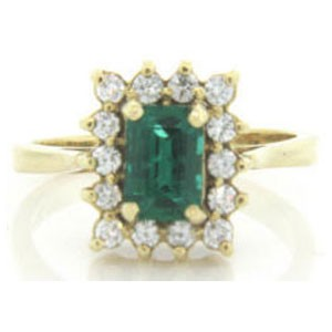 FS3592 Diamond and Emerald Ring