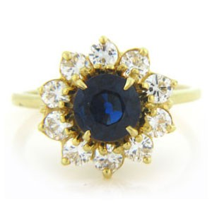 FS3621 Diamond and Sapphire Ring