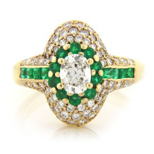 FS3776 Diamond and Emerald Ring
