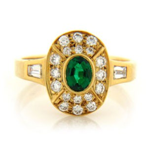 FS3784 Diamond and Emerald Ring