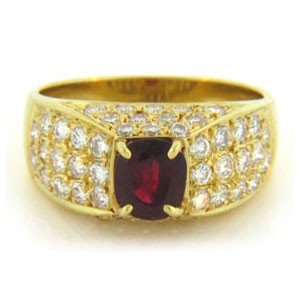 FS3853 Diamond and Ruby Ring