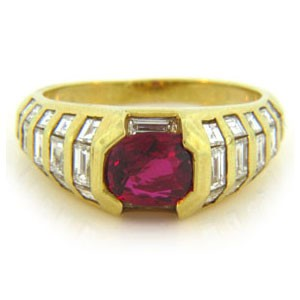 FS3854 Diamond and Ruby Ring