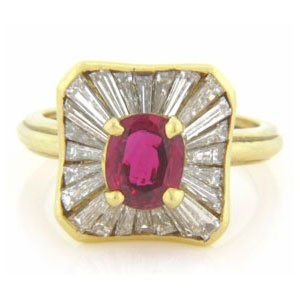FS3861 Diamond and Ruby Ring
