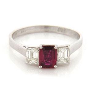 FS3875 Diamond and Ruby Ring
