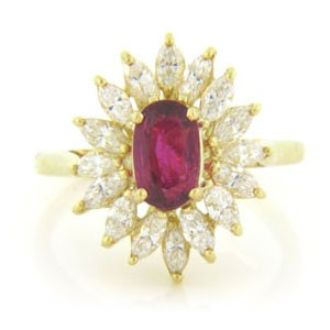 FS3883 Diamond and Ruby Ring