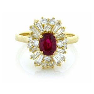 FS3887 Diamond and Ruby Ring