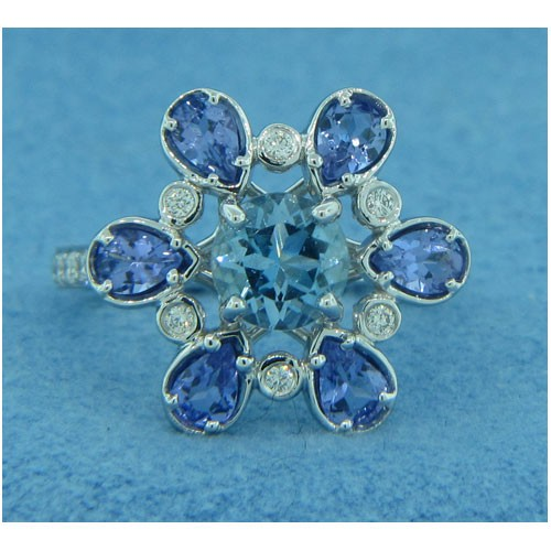 FS3985 Diamond, Tanzanite and Aquamarine Ring