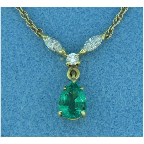 P1401 Diamond and Emerald Pendant