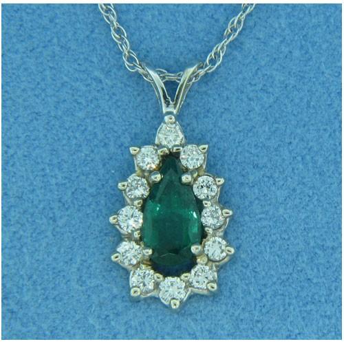 P1405 Diamond and Emerald Pendant