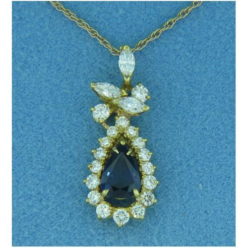 P1407 Diamond and Sapphire Pendant