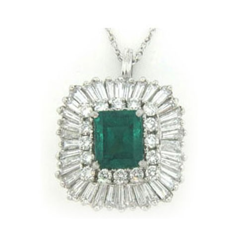 P3753 Diamond and Emerald Pendant