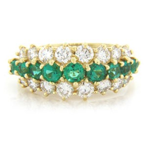 WB2584 Diamond and Emerald Wedding Ring