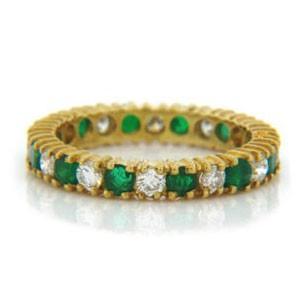 WB2585 Diamond and Emerald Wedding Ring