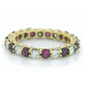 WB2598 Diamond and Ruby Wedding Ring