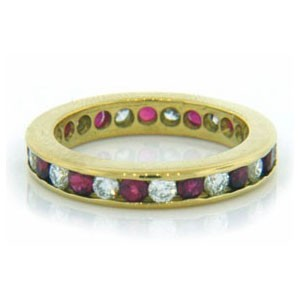 WB2600 Diamond and Ruby Wedding Ring