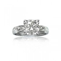 AFS-0009 Engraved Solitaire Engagement Ring