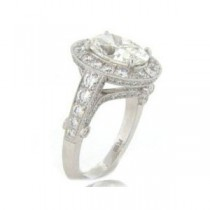 AFS-0115 Vintage Diamond Engagement Ring with Halo