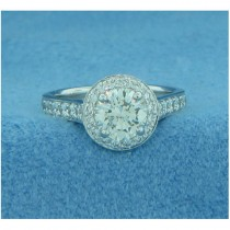 AFS-0129 Vintage Diamond Engagement Ring with Halo