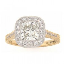AFS-0135 Vintage Diamond Engagement Ring with Halo