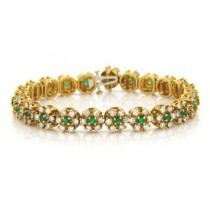 BR878 Diamond and Emerald Bracelet