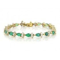 BR886 Diamond and Emerald Bracelet